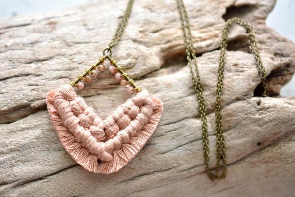 Antique Peach Beaded Macrame Necklace