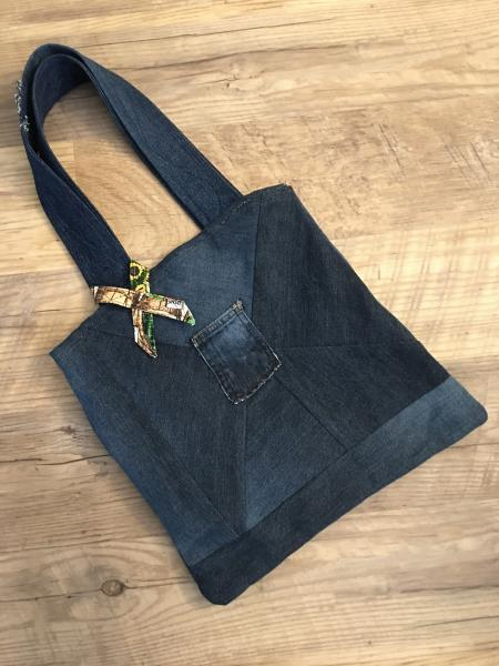 Denim Tote Bag-Reversible with Harvest Time Pattern