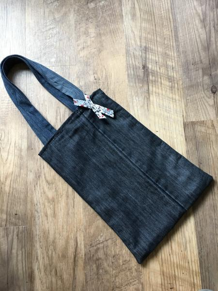 Denim Tote Bag-Reversible with Doggie Pattern