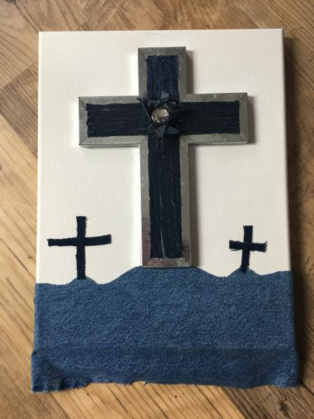 """Calvary Hill""-Upcycled Denim Wall Hanging Artwork"