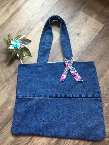 Denim Tote Bag-Reversible with Butterfly Pattern
