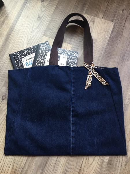 Large Denim Tote Bag-Reversible with Leopard Pattern