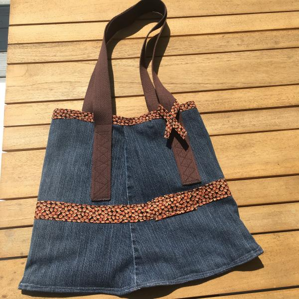 Denim Tote Bag-Reversible with Coffee Bean Pattern