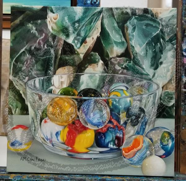 Marbles oil on canvas picture
