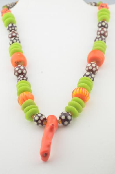 polka dot necklace of handmade glass  beads I with old coral