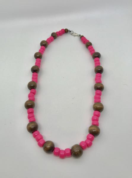 Wood & Pink Necklace