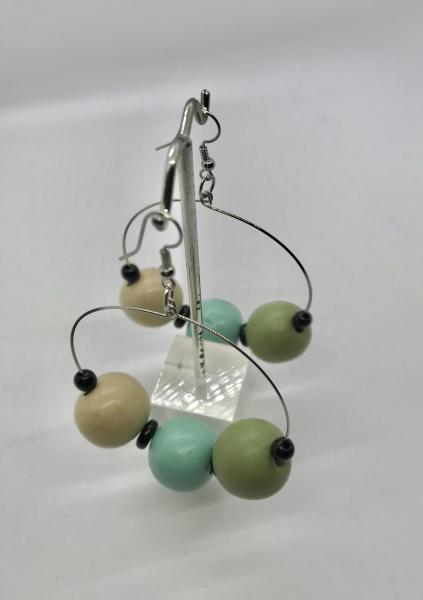 Wood Bead Dangly Hoops