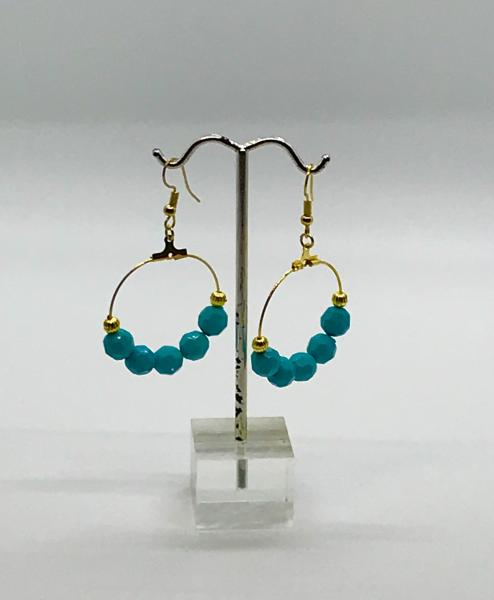 Gold & Blue Dangly Hoops