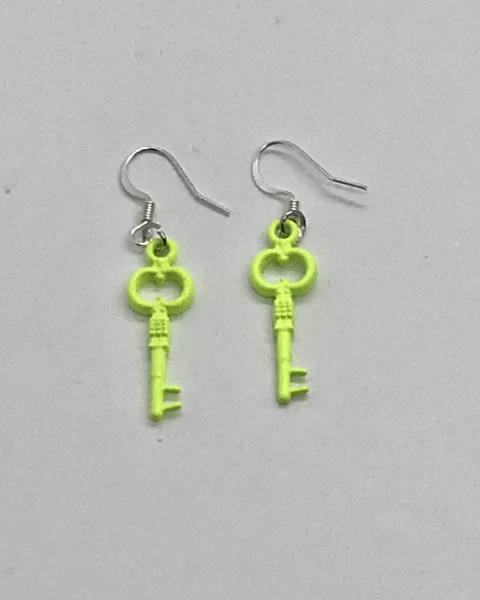 Chartreuse Key Earrings