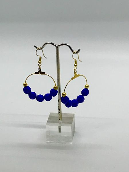 Gold/Dark Blue Dangly Hoops
