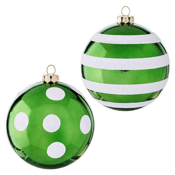 Green Dots and Stripes Ornaments