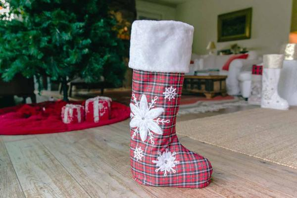"30"" Plaid & Flakes Standing Stocking"
