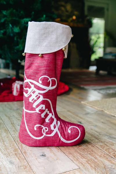 "20"" Very Merry  (w/Jingle Bells) Standing Stocking"