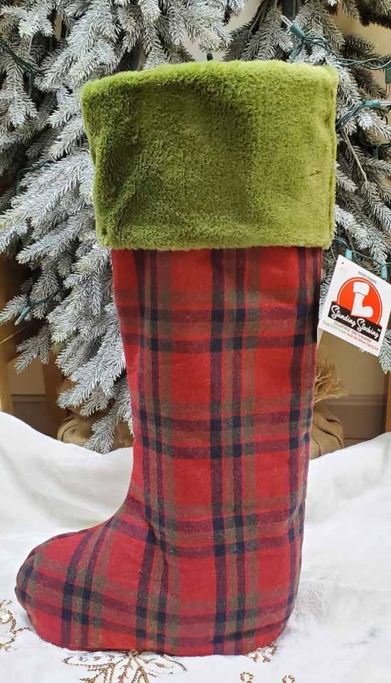 "36"" Back Country Plaid Standing Stocking"