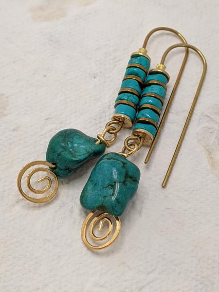 Long Turquoise Pebbles | Gold