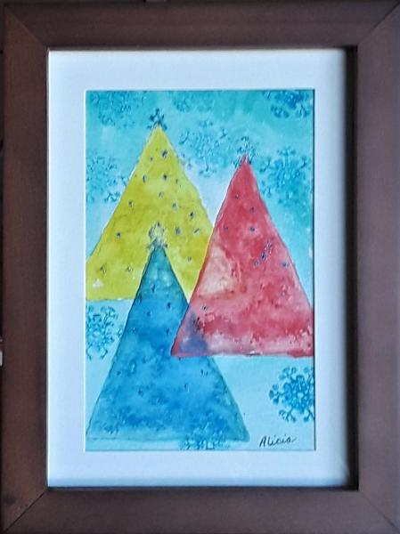 3 Christmas Trees framed painting