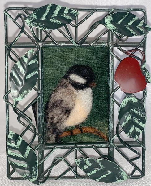 Chickadee in Metal Leaf Frame