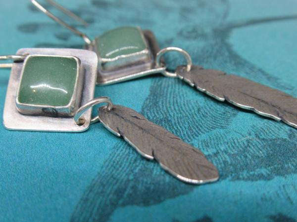 Aventurine and feather earrings