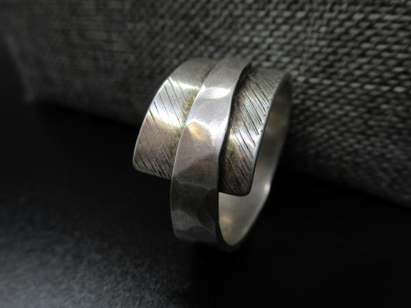 Mens Textured Silver Ring