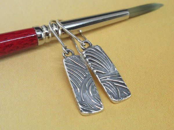 Textured Silver Bar Earrings
