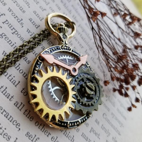 Steampunk Gold, Copper, Silver & Antique Bronze Gears in Resin in Vintage Watch Shaped Pendant