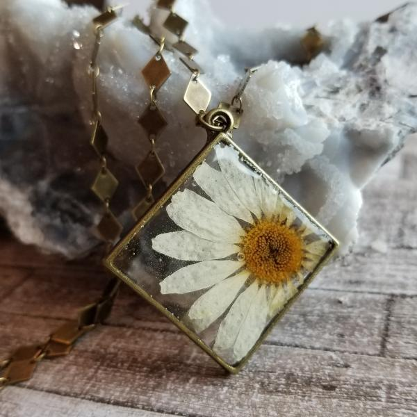 Real Daisy Preserved in Resin inside Antique Brass Frame