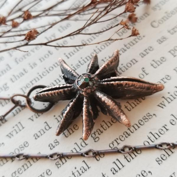 Real Star Anise Plated with Copper with Swarovski Crystal picture