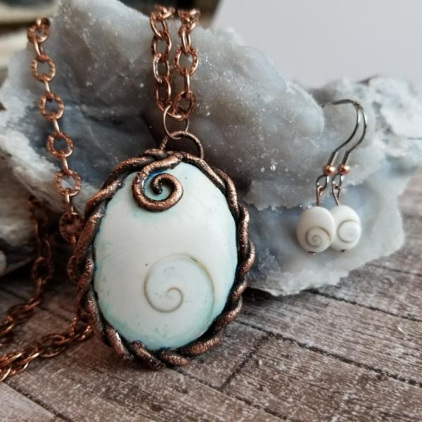 Copper and Fossil Shiva Shell Electroformed Pendant and Earrings Set