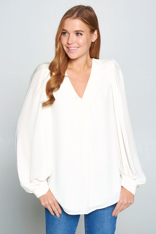 Balloon Sleeve Blouse, Ivory picture