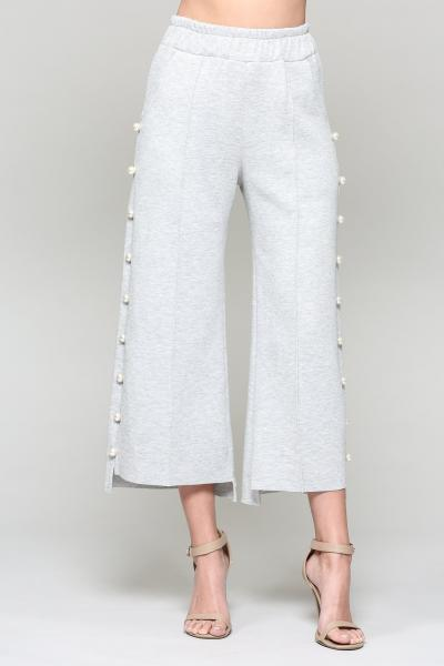 Pearl Trim Pants, Heather Gray picture