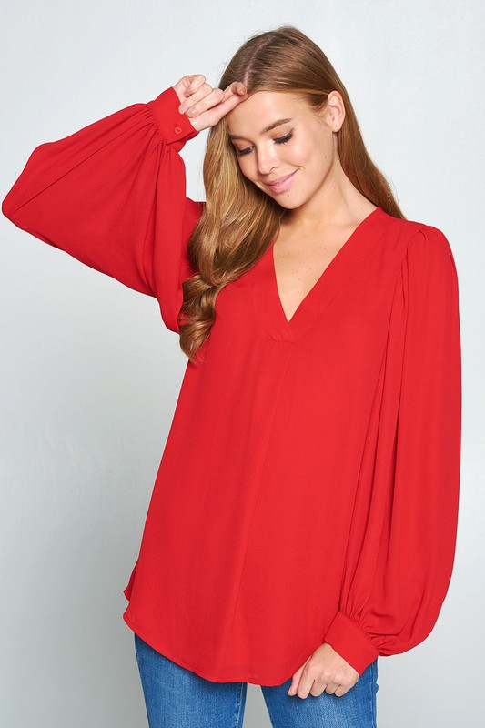Balloon Sleeve Blouse, Red