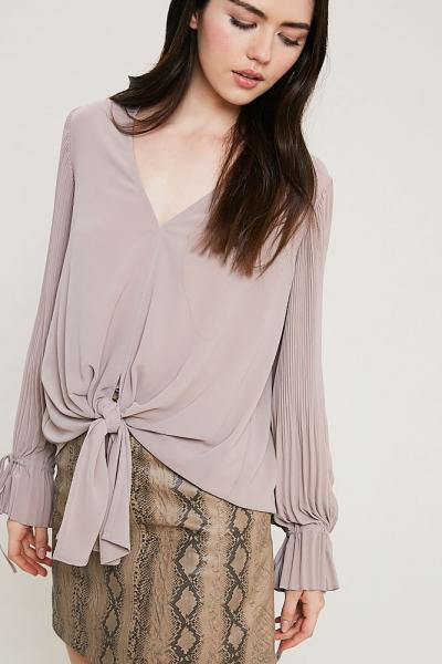 Self-Tie Front V-Neck Blouse
