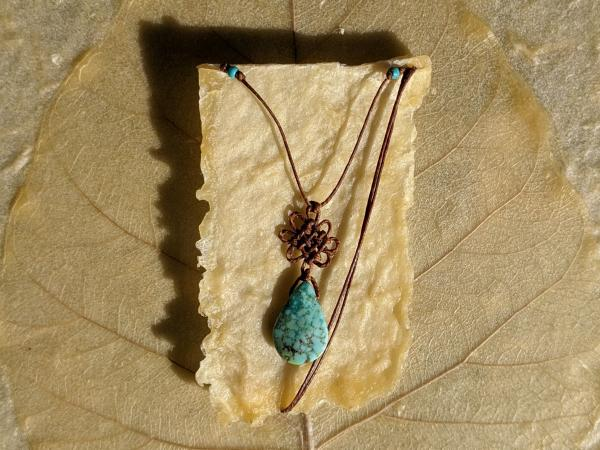 Turquoise Tear Drop Pan Chang Knot Necklace