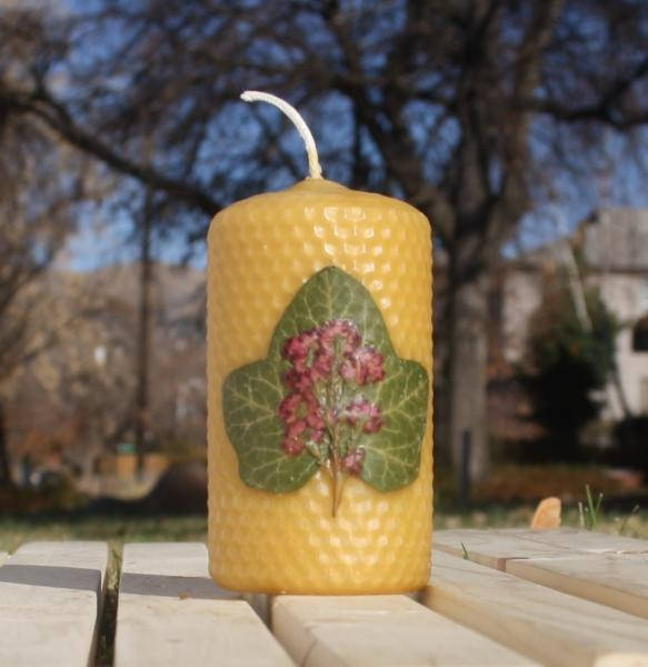 Beeswax candle with pressed flowers short pillar