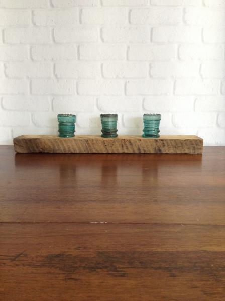 1800s Barnwood Tealight Holder with Antique Glass Insulators