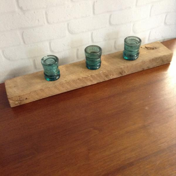 1800s Barnwood and Insulator Tealight Holder picture