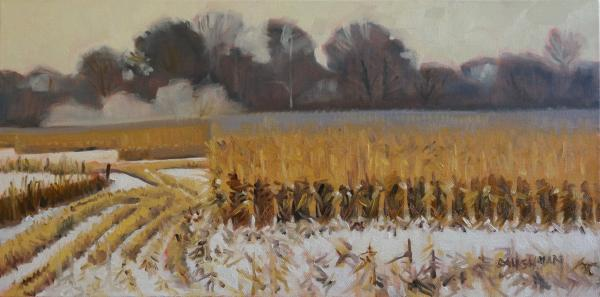 Cornfield Abstraction in Gray and Gold