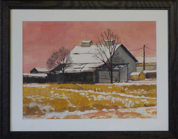 Gray Barn, Pink Sky (plein air) picture