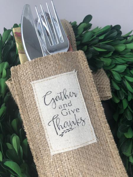 Gather and Give Thanks Silverware Pouch | Flatware Pouch | Silverware Holder | Party Table Setting | Holiday Table Setting S/8