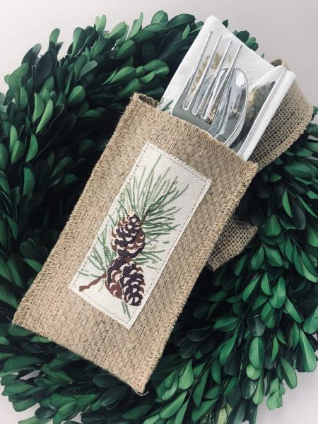 Pinecone Silverware Pouch | Flatware Pouch | Silverware Holder | Party Table Setting | Holiday Table Setting S/8