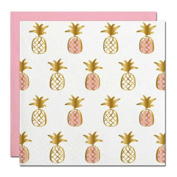 Pineapple Beverage Napkins (20 ct), Cocktail Napkins with Gold Foil picture