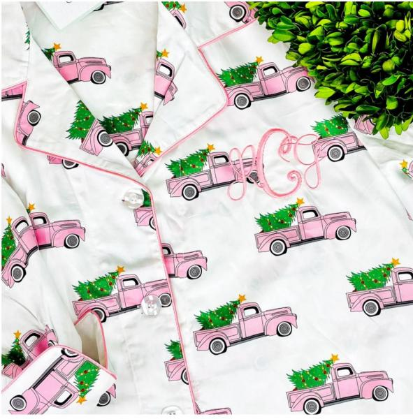 Pink Truck Christmas Tree Nightshirt