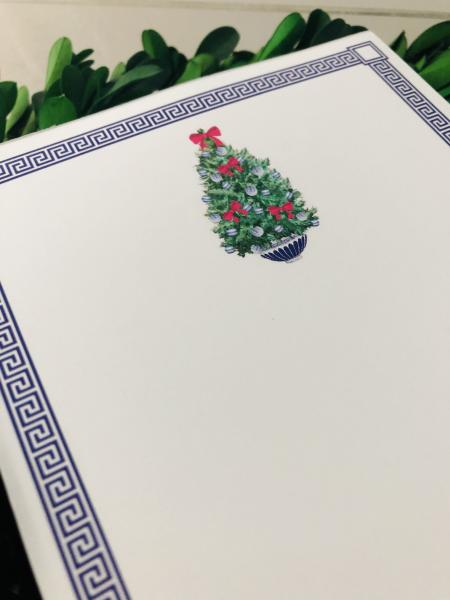 Greek Key with Christmas Tree Notepad