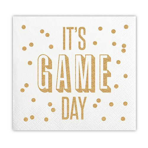 It's Game Day Beverage Napkins (20 ct), Cocktail Napkins with Gold Foil