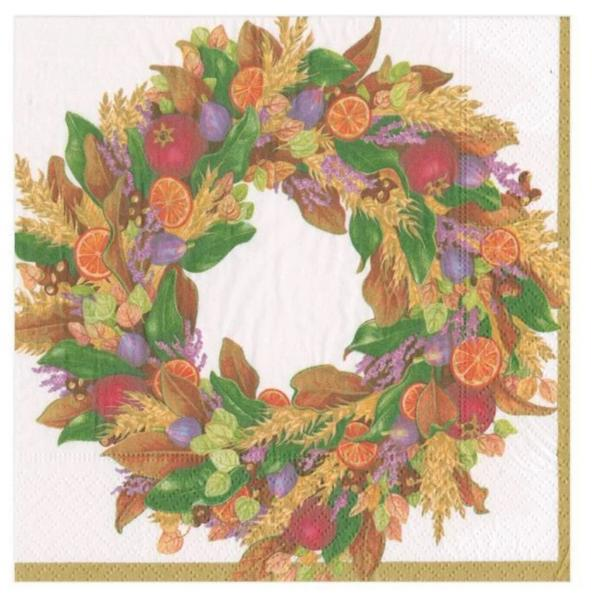 Autumn | Ivory Fall Fruit Wreath Luncheon Napkins (20 ct) picture