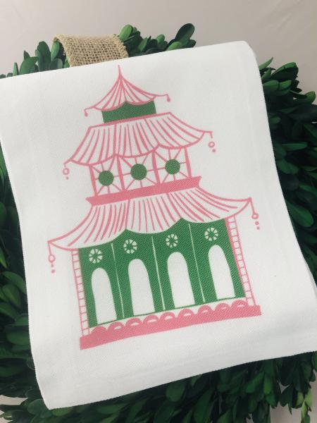 Monogram Pagoda Tea Towel | Chinoiserie | Chinoiserie Chic | Preppy Personalized Gift | Hostess Gift | Monogrammed Gift
