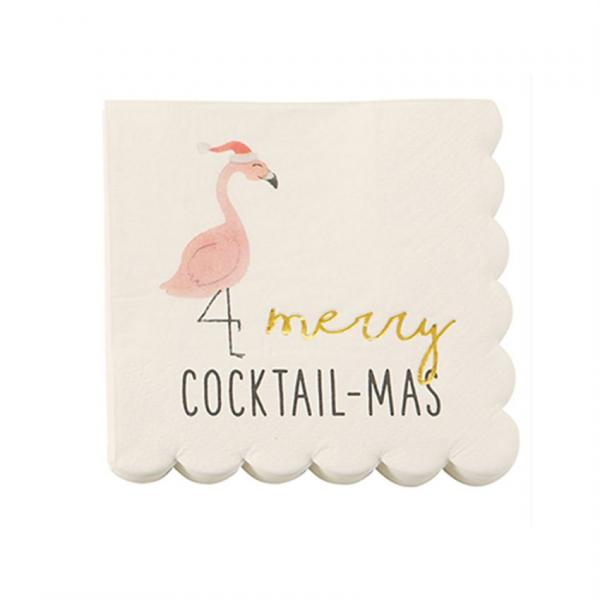 Holiday | Merry Cocktail - Mas Beverage Napkins (20 ct), Cocktail Napkins