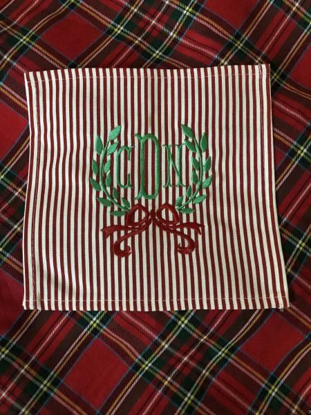 Monogrammed Red Stripe Cocktail Napkins S/4 picture