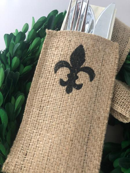 Fleur de Lis Silverware Pouch | Flatware Pouch | Silverware Holder | Party Table Setting | Holiday Table Setting S/8