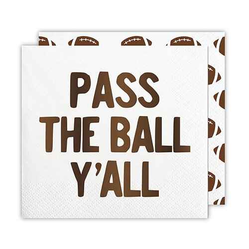 Pass the Ball Y'all Beverage Napkins (20 ct), Cocktail Napkins with Dark Brown Foil